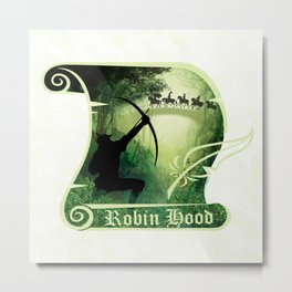 Robin Hood - Scroll - Green Metal Print