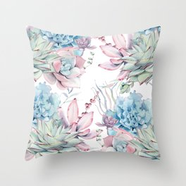 Pretty Pastel Succulents Garden 2 Throw Pillow