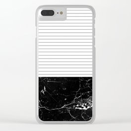 Thin Stripes and Black Marble Clear iPhone Case