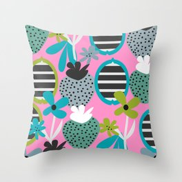 Summer mix in pink and blue Throw Pillow