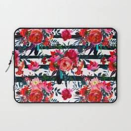 Magenta pink fuchsia black white watercolor floral stripes Laptop Sleeve