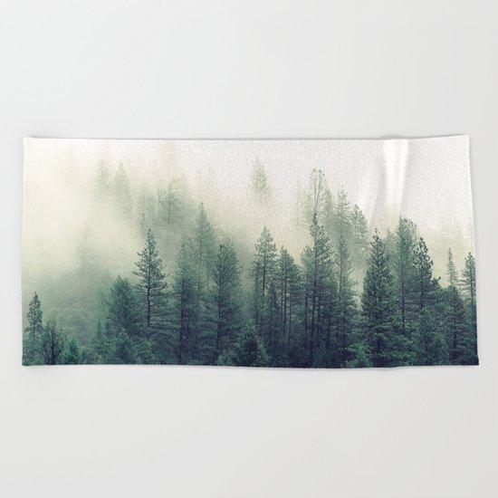 Foggy Winter Forest Beach Towel