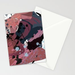 A mess of me: an abstract mixed media piece in muted pinks, blues, and black Stationery Cards