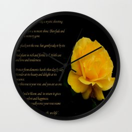Yellow Rose Greeting Card With Verse - Pluck Not the Rose Wall Clock