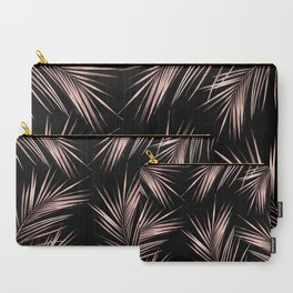 Rosegold Palm Tree Leaves on Midnight Black Carry-All Pouch