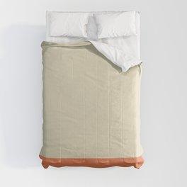 Minimalist Color Block Solid in Cream Beige and Light Pumpkin Orange Comforters