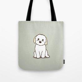 Shih Tzu and Maltese Mix Puppy Illustration Tote Bag