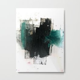 Empire: a minimal, abstract piece in teal and midnight blue by Alyssa Hamilton Art Metal Print