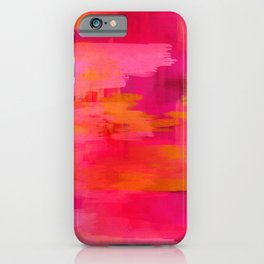 """""""Abstract brushstrokes in pastel pinks and solar orange"""" iPhone Case"""