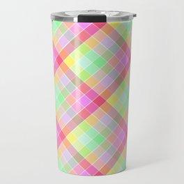 Pastel Rainbow Tablecloth Diagonal Check Travel Mug