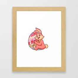 Easter bunny rabbit with pink egg Framed Art Print