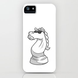 Knight Chess piece at Chess with Sunglasses iPhone Case
