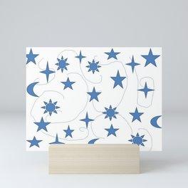Abstract Celestial Design Stars Sun and Moon Mini Art Print
