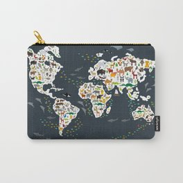 Cartoon animal world map for kids, back to schhool. Animals from all over the world Carry-All Pouch
