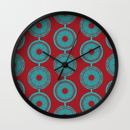 turquoise and vermilion flower Wall Clock