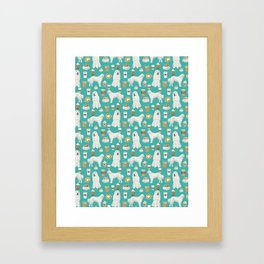 Great Pyrenees coffee lover pattern print gifts for dog breed unique dog person Framed Art Print