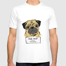 Pug Shot White SMALL Mens Fitted Tee