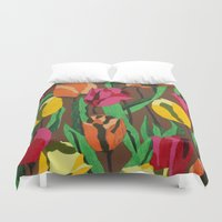 tulips Duvet Covers featuring Tulips  by Marjolein