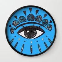 kenzo Wall Clocks featuring Kenzo eye blue by cvrcak