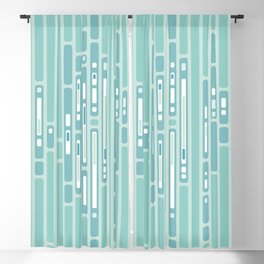 Ocean Reflection – Blue / Teal Midcentury Abstract Blackout Curtain