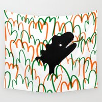 dinosaur Wall Tapestries featuring Jungle Dinosaur by David Penela