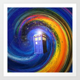 Tardis Doctor Who Fly into Time Vortex Art Print