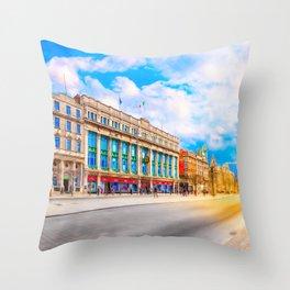 Sun Shining On O'Connell Street In Dublin Ireland Throw Pillow