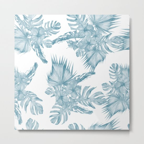 Palm Leaf Hibiscus Classic Blue + White Metal Print