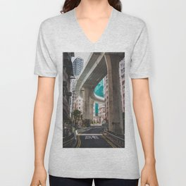 Hong Kong Street Bridge Unisex V-Neck