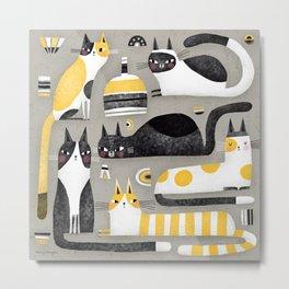 BLACK WHITE & YELLOW CATS Metal Print
