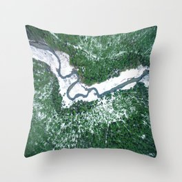 AERIAL. River Lakaja in woods of Labanoras, Lithuania Throw Pillow
