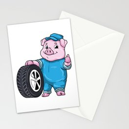 Pig as Car mechanic with Tires Stationery Cards