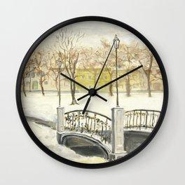 Locks on Little Lovers Bridge Wall Clock