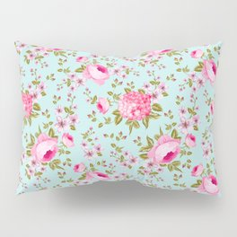 Modern neon pink teal roses hortensia floral Pillow Sham