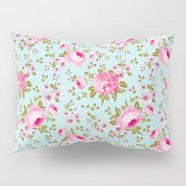 Modern neon pink teal roses hortensia floral Pillow Sham
