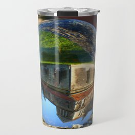 Church seen through glass ball Travel Mug