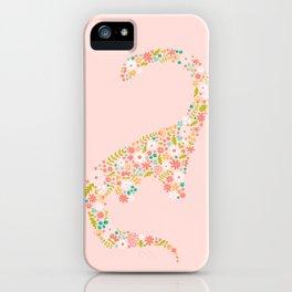 Floral Brontosaurus in Pink iPhone Case