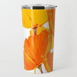 Orange and Yellow Poppies On A White Background #decor #society6 #buyart Travel Mug
