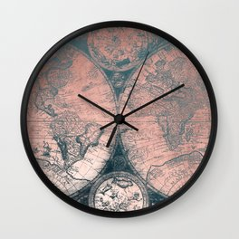Vintage World Map Rose Gold and Storm Gray Navy Wall Clock