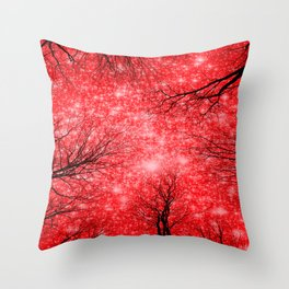Black Trees Red Space Throw Pillow