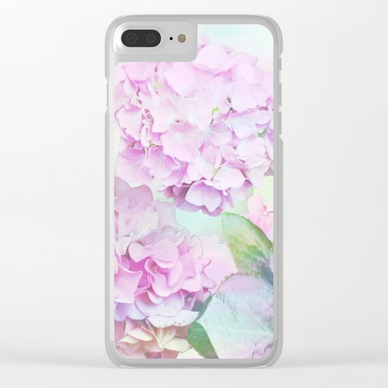 Painterly Hydrangea flowers on a pastel background Clear iPhone Case