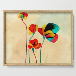 Exotic Watercolor Flower Serving Tray