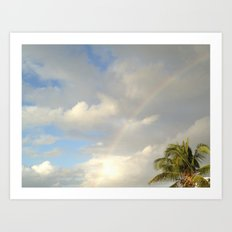 Palm Sky Rainbow, St. John, USVI, Caribbean Art Print
