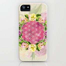 Flower of life in watercolor flower wreath iPhone Case