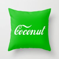 coconut wishes Throw Pillows featuring Coconut by Tshirtbaba