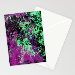 Colour Interaction II - Abstract purple, green and black textured, mixed media art Stationery Cards