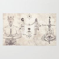 tarot Area & Throw Rugs featuring Tarot: VI - The Lovers by Jæn ∞