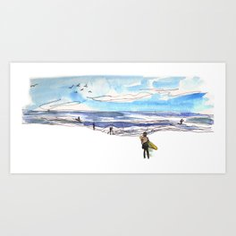 Surfing in California Art Print