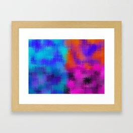 orange blue pink plaid pattern Framed Art Print