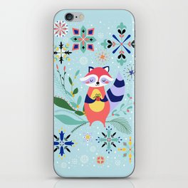 Happy Raccoon Card iPhone Skin